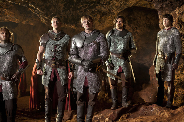 Merlin S05E05 - &#39;The Disir&#39;: Sir Leon (RUPERT YOUNG), Percival (TOM HOPPER), King Arthur Pendragon (Bradley James), Gwaine (EOIN MACKEN), Mordred (ALEX VLAHOS)
