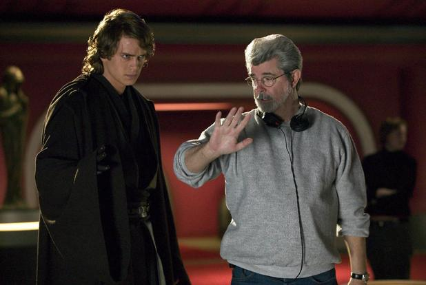 George Lucas with Hayden Christensen