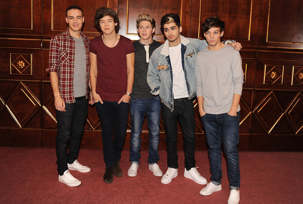Liam Payne, Harry Styles, Niall Horan, Zayn Malik and Louis Tomlinson of One Direction at a press conference to launch their new album 'Take Me Home' in Milan Milan, Italy