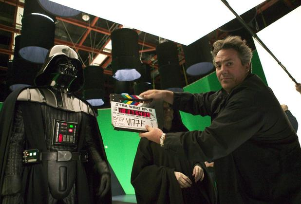 Producer Rick McCallum prepares the clapperboard for a take during filming for Star Wars: Episode III.