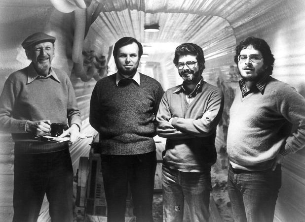 The Empire Strikes Back production team from left to right: director Irvin Kershner, producer Gary Kurtz, George Lucas and writer Lawrence Kasdan.