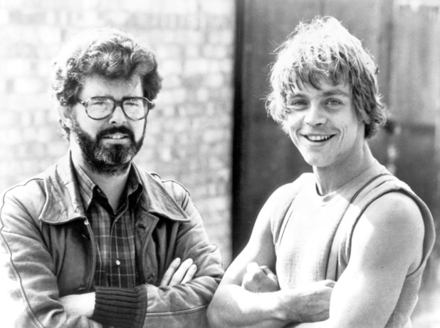 George Lucas and Mark Hamill on the set of the film 'the Empire Strikes Back' in 1980