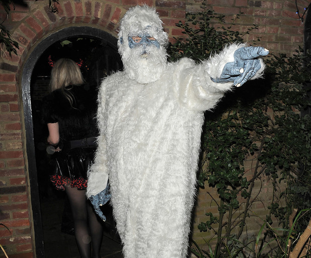 Simon Pegg leaving a Halloween party held at the home of television presenter Jonathan Ross. London, England