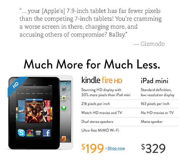 Amazon takes swipe at iPad Mini with homepage advert