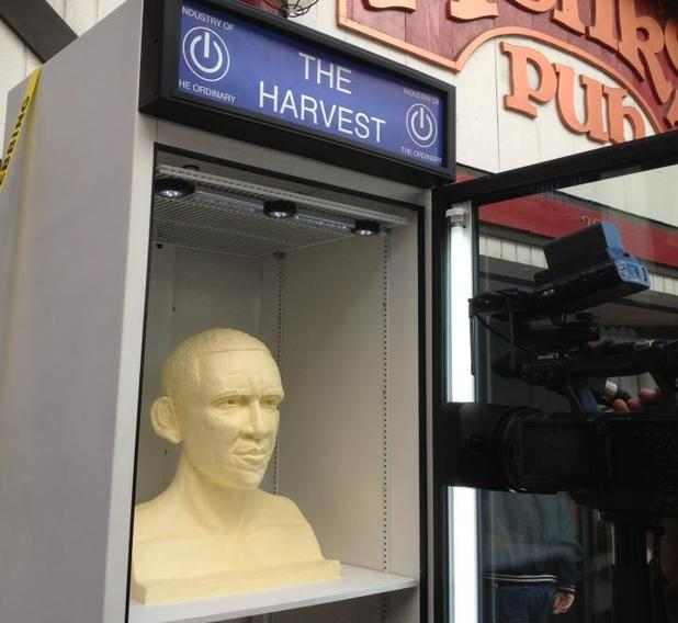 Artists make Obama bust sculpture out of butter