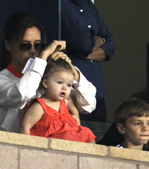 Victoria and Harper Beckham at LA Galazy game 28.10.12