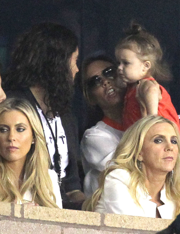 Russell Brand meets Harper Beckham at LA Galaxy game 28.10.12