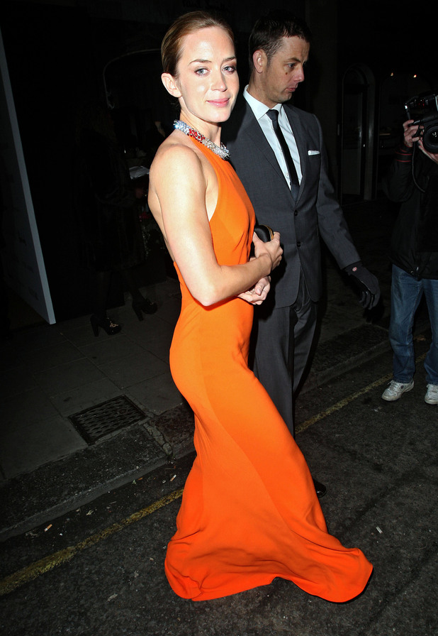 Emily Bluntdeparting the Harper's Bazaar Woman of the Year Awards held at Claridge's HotelLondon, England