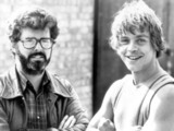 George Lucas and Mark Hamill on the set of the film &#39;the Empire Strikes Back&#39; in 1980