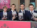 McFly sign copies of their new book 'Unsaid Things...Our Story' at the Selfridges Ice Rink.
