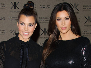 Kardashian Kollection for Dorothy Perkins launch party at Aqua: Kourtney Kardashian and Kim Kardashian