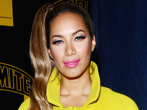 Leona Lewis is seen before Robbie Williams switches on the Oxford Street lights