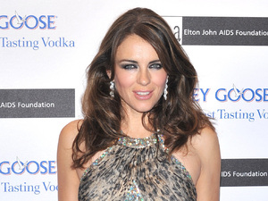 Elizabeth Hurley attends the The Elton John AIDS Foundation Grey Goose Winter Ball.