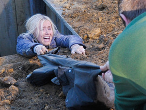 6404: Declan desperate tries to pull Katie from the hole with his shirt
