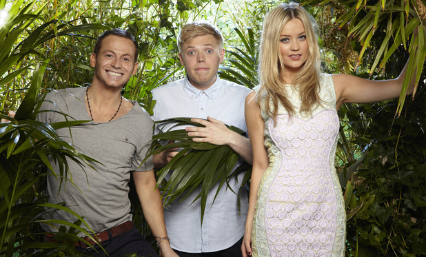 I'm A Celebrity ITV2 presenters Joe Swash, Laura Whitmore and Rob Beckett