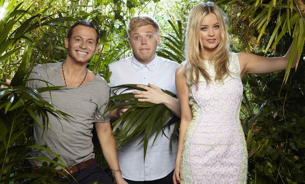 I'm A Celebrity ITV2 presenters Joe Swash, Laura Whitmore and Rob Beckett
