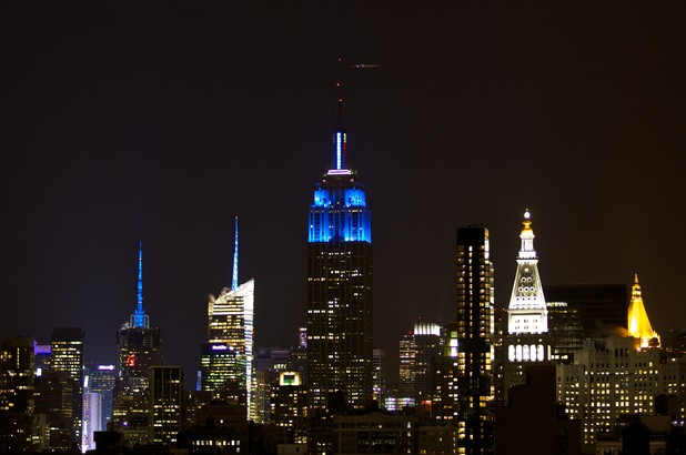 Empire State Building lit up in blue to mark President Obama&#39;s re-election.