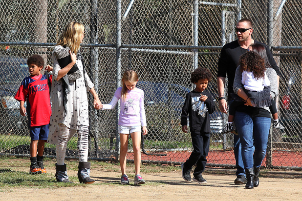 Heidi Klum and her children with Klum's new boyfriend Martin Kristen