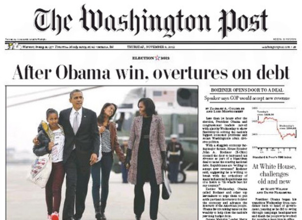 Newspaper covers on 08/11/12 covering the re-election of Obama: The Washington Post