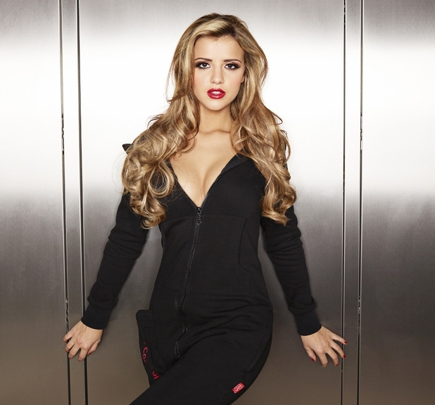 TOWIE star Lucy Mecklenburgh in her Virgin Media onesie.