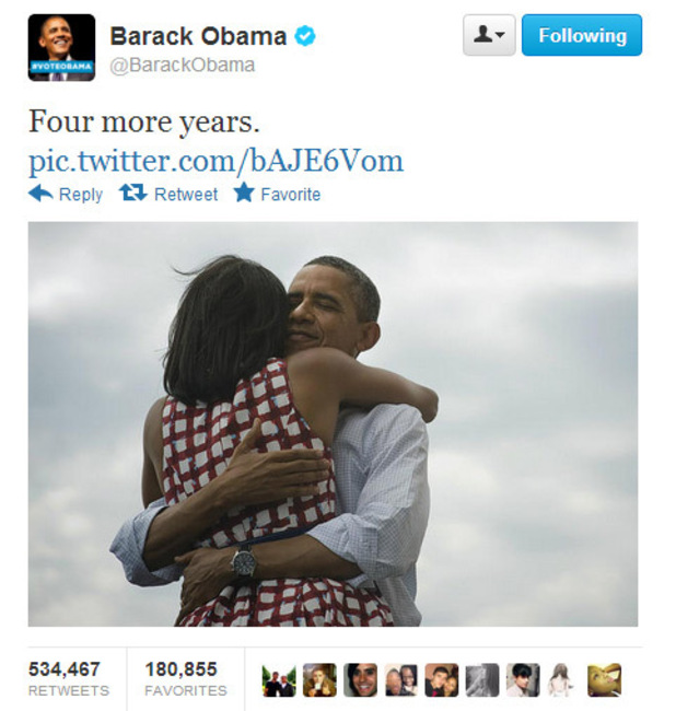Barack Obama posts tweet celebrating his re-election