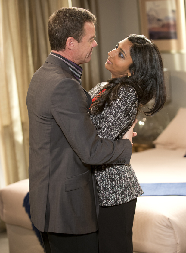 Paul and Priya spend time together in the hotel.