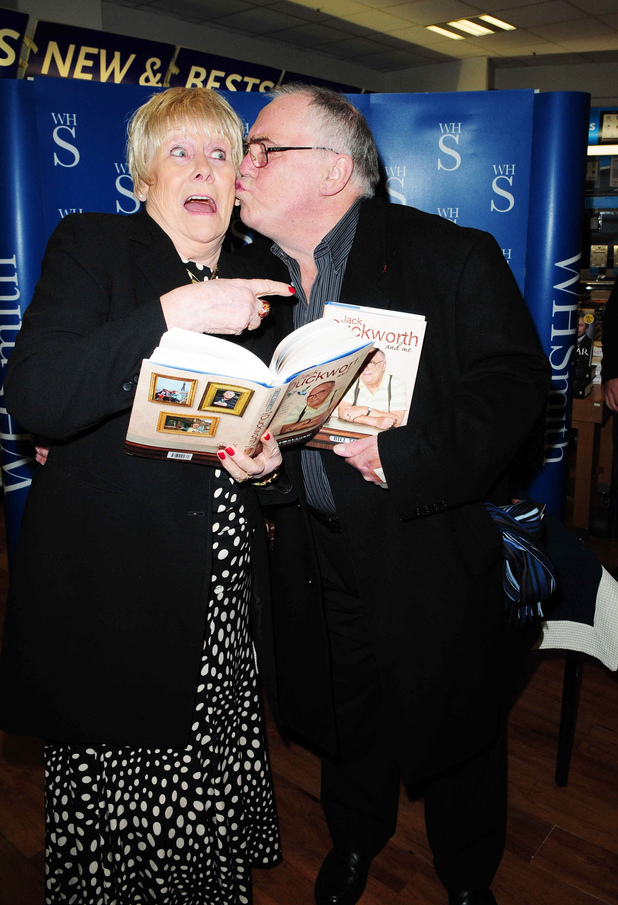 Bill Tarmey and Liz Dawn at his book signing 'Jack Duckworth and Me' held at WHSmiths in the Arndale Centre