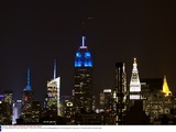 Empire State Building lit up in blue to mark President Obama's re-election.