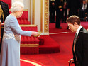The actor is given a knighthood by the Queen at Buckingham Palace.