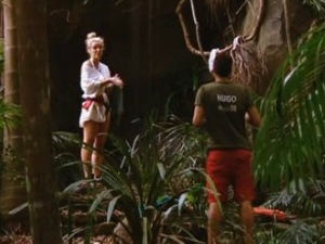 Helen Flanagan talks to Hugo Taylor in I'm A Celebrity Get Me Out Of Here