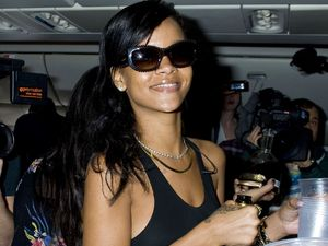 Day 1 of 7 on Rihanna's 777 Tour at LAX airport in Los Angeles en route to Mexico City.