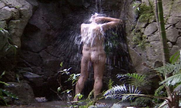Nigel Havers, I'm a celebrity, arse, waterfall