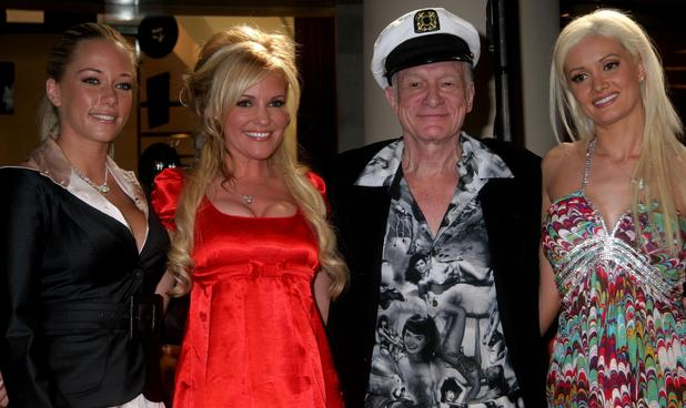 Kendra Wilkinson, Hugh Hefner, Bridget Marquardt, Holly Madison stars of 'Girls of the Playboy Mansion'