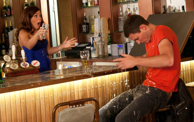 Maxine spills a drink over Liam.