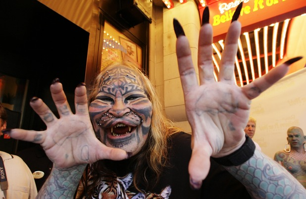 """Cat Man"" Dennis Avner poses during the grand opening celebration of Ripley's Believe It Or Not Odditorium Thursday, June 21, 2007 in New York's Times Square"