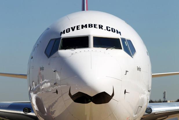Movember plane, Qantas