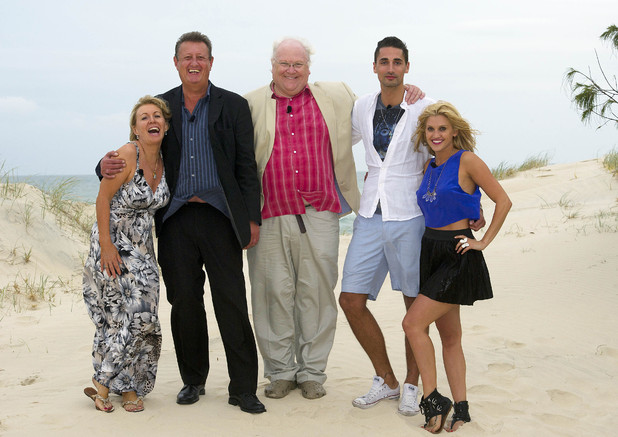 Nadine Dorries, Eric Bristow, Colin Baker, Hugo Taylor and Ashley Roberts, team