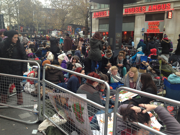 Twilight fans wait outside London's Leicester Square