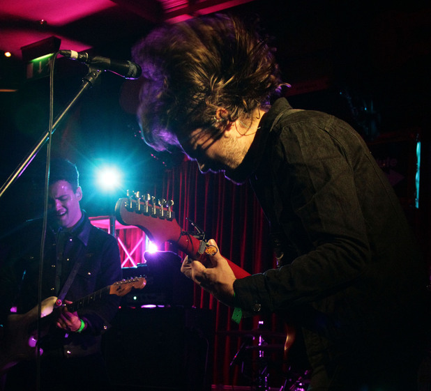Justin Young of The Vaccines performing during an Absolute Radio session, at the Hard Rock Cafe in central London.