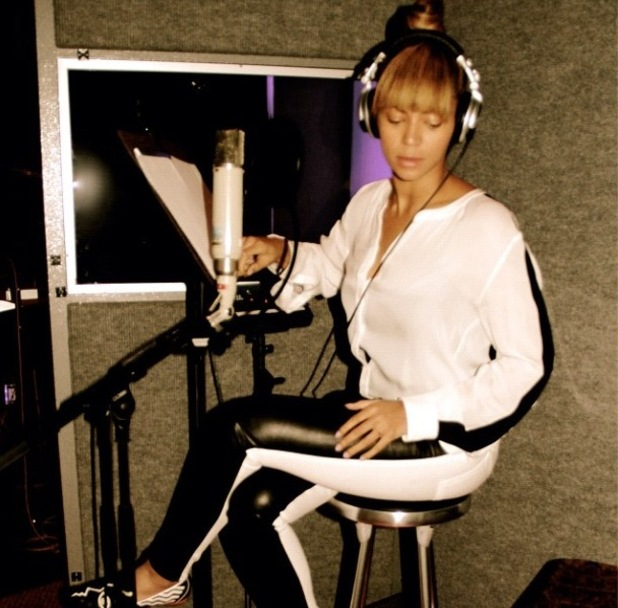 Beyonce uploaded a picture of her in the studio on Instagram