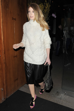 Nicola Roberts leaving Zuma restaurant, having celebrated Girls Aloud band member Kimberley Walsh's 31st birthday. London, England