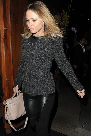 Kimberley Walsh leaving Zuma restaurant, having celebrated her 31st birthday with some of her Girls Aloud band members. London, England