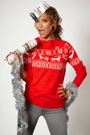 Mylene Klass models a Christmas jumper for 'Save the Children's 2012 Christmas Jumper Day'.