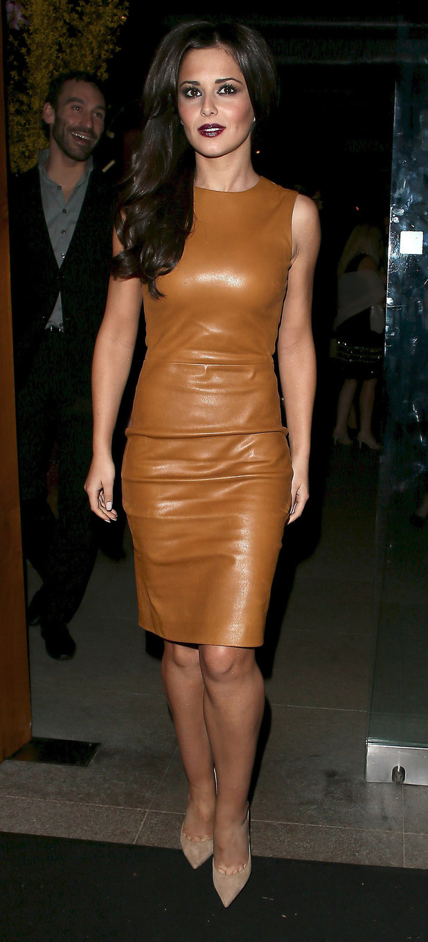 Cheryl Cole leaving Zuma restaurant, having celebrated Girls Aloud band member Kimberley Walsh's 31st birthday. London, England
