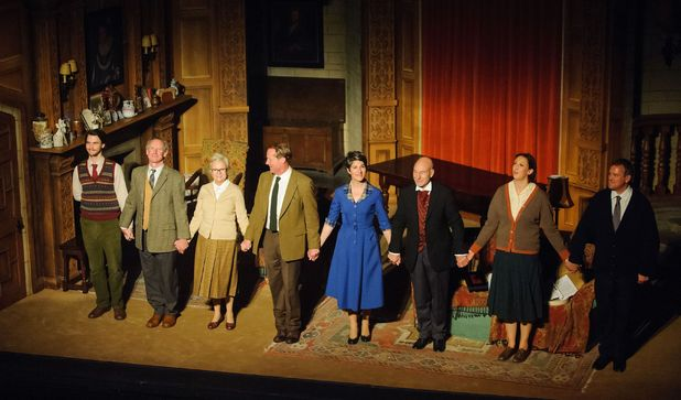 Harry Lloyd, Nicholas Farrell, Iain Glen (back) Tamsin Greig, Miranda Hart, Julie Walters, Patrick Stewart and Hugh Bonneville, the cast of a one-off performance of 'The Mousetrap' at St Martin's Theatre in central London