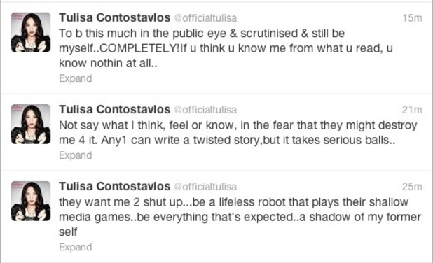 Tulisa Contostavlos has a Twitter rant about Danny Simpson stories.