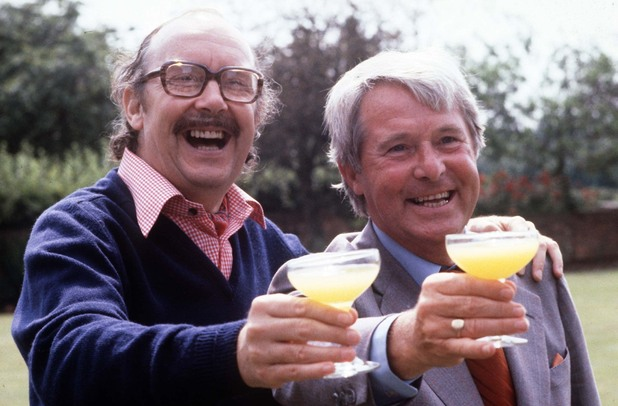 Eric Morecambe and Ernie Wise at Eric's home in Harpenden