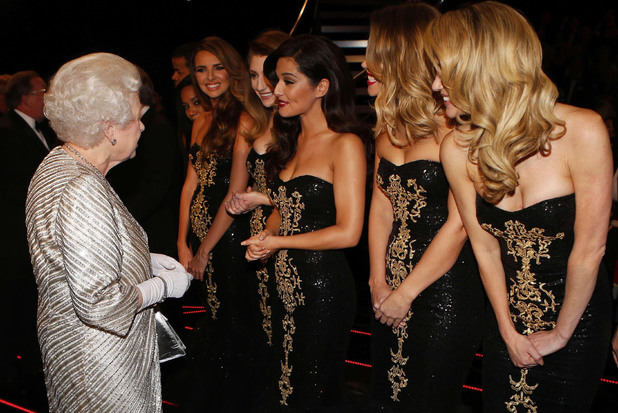 Girls Aloud with the Queen