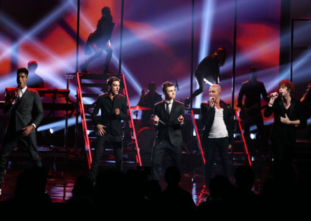 The Wanted, from left, Siva Kaneswaran,Tom Parker, Nathan Sykes, Max George and Jay McGuiness perform at the 40th Annual American Music Awards on Sunday, Nov. 18, 2012, in Los Angeles. (Photo by Matt Sayles/Invision/AP)