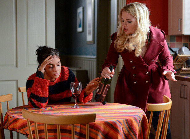 Abi scolds Lauren for drinking again.